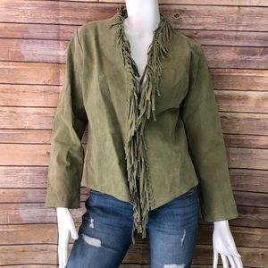 Dialogue green leather fringe jacket